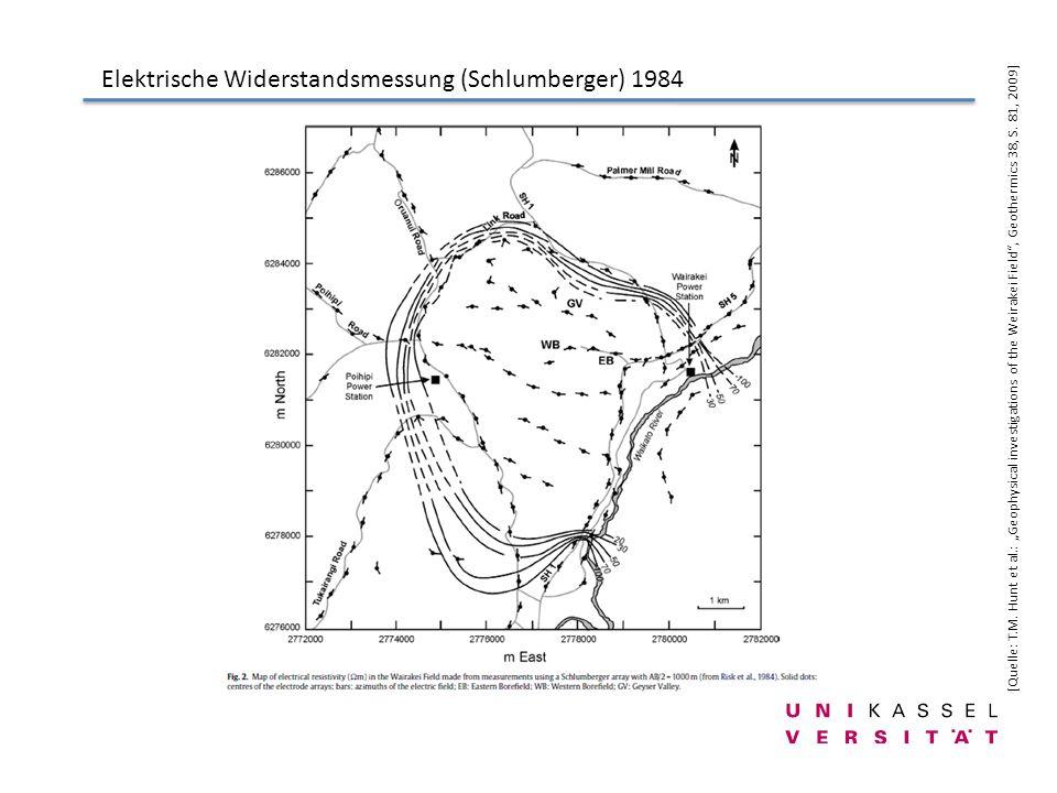 Elektrische Widerstandsmessung (Schlumberger) 1984 [Quelle: T.M. Hunt et al.: Geophysical investigations of the Weirakei Field, Geothermics 38, S. 81,