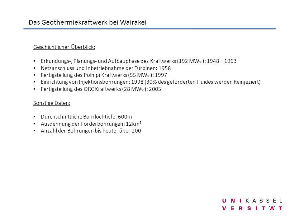 Das Geothermiekraftwerk bei Wairakei Geschichtlicher Überblick: Erkundungs-, Planungs- und Aufbauphase des Kraftwerks (192 MW el ): 1948 – 1963 Netzan