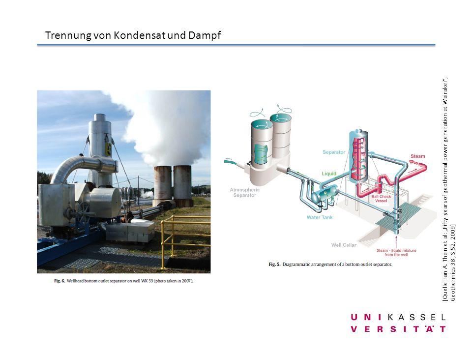 Trennung von Kondensat und Dampf [Quelle: Ian A. Thain et al: Fifty years of geothermal power generation at Wairakei, Geothermics 38, S.52, 2009]