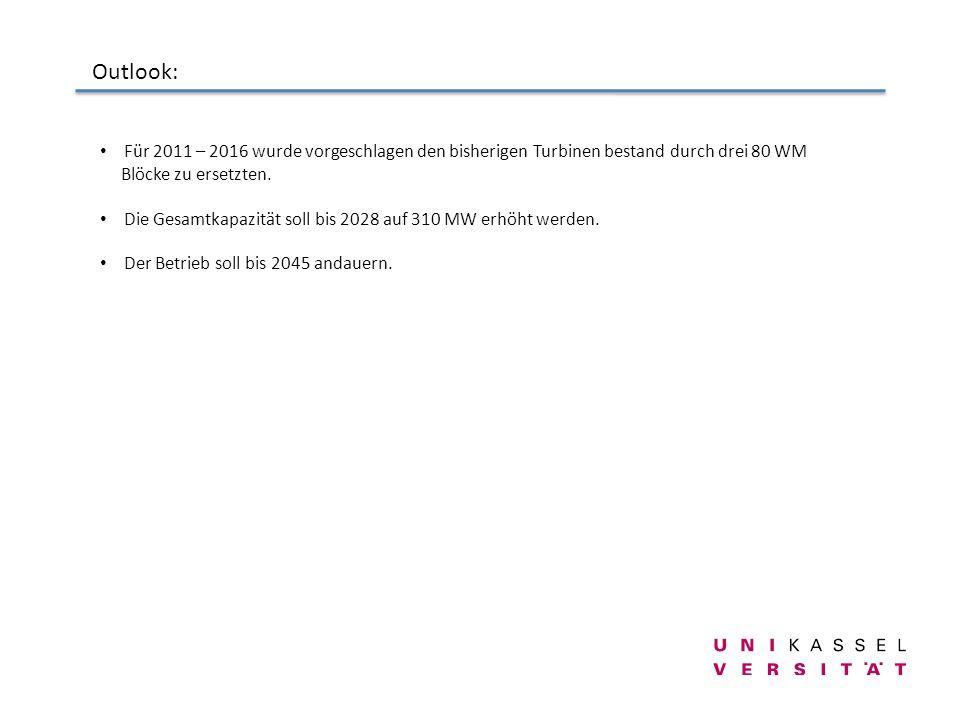 Outlook: Für 2011 – 2016 wurde vorgeschlagen den bisherigen Turbinen bestand durch drei 80 WM Blöcke zu ersetzten. Die Gesamtkapazität soll bis 2028 a