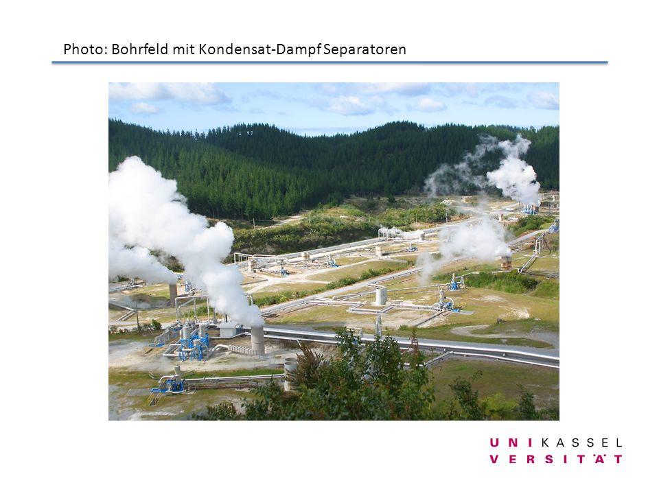 Photo: Bohrfeld mit Kondensat-Dampf Separatoren