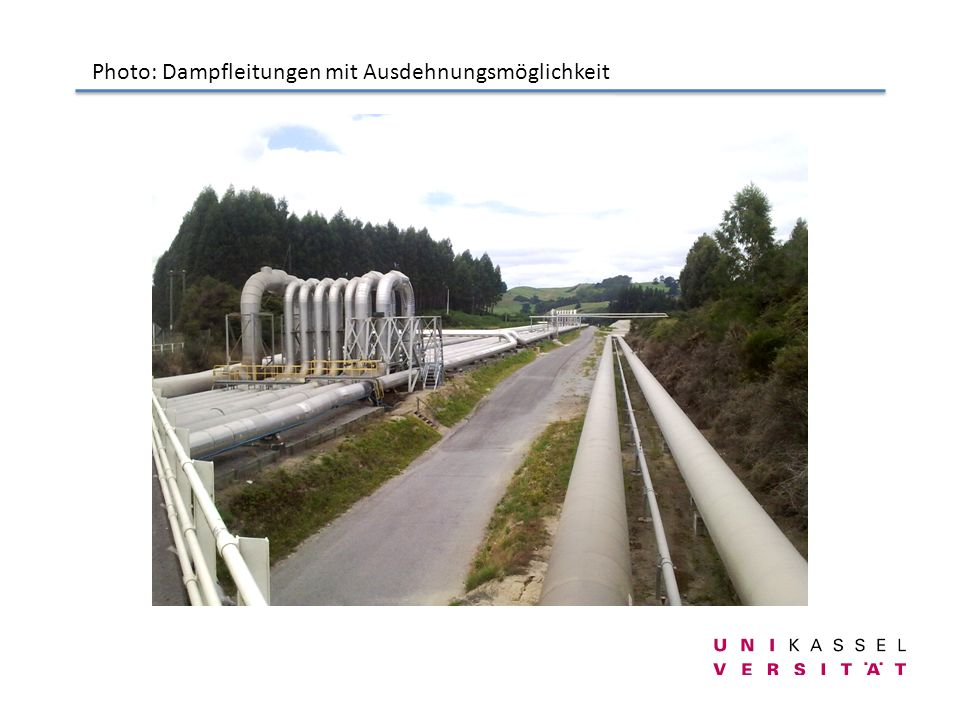 Photo: Dampfleitungen mit Ausdehnungsmöglichkeit