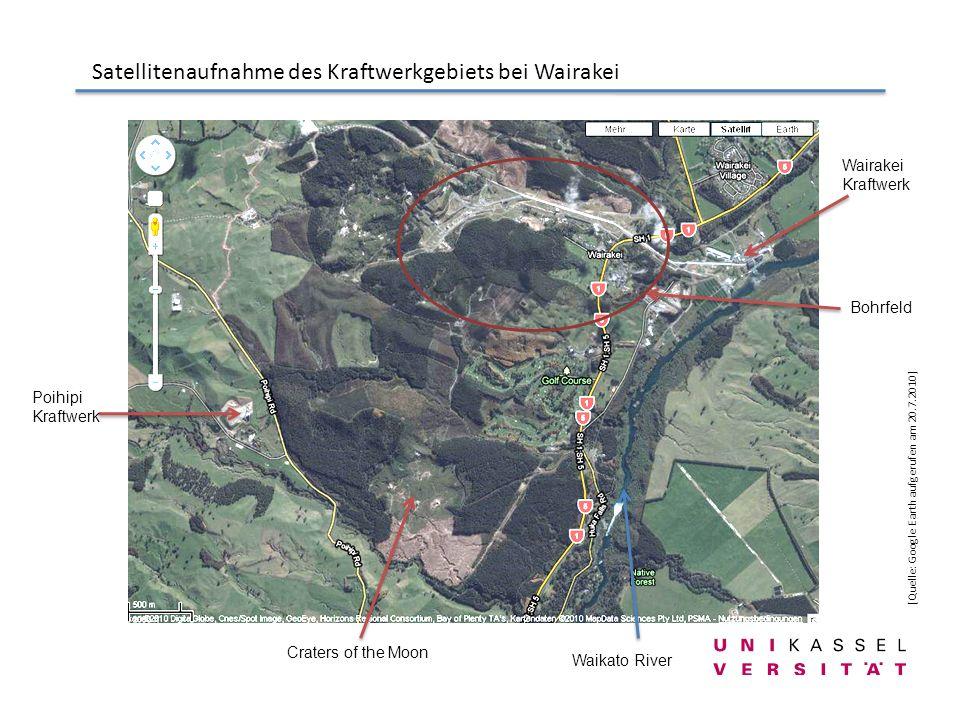 Satellitenaufnahme des Kraftwerkgebiets bei Wairakei [Quelle: Google Earth aufgerufen am 20.7.2010] Craters of the Moon Wairakei Kraftwerk Poihipi Kra