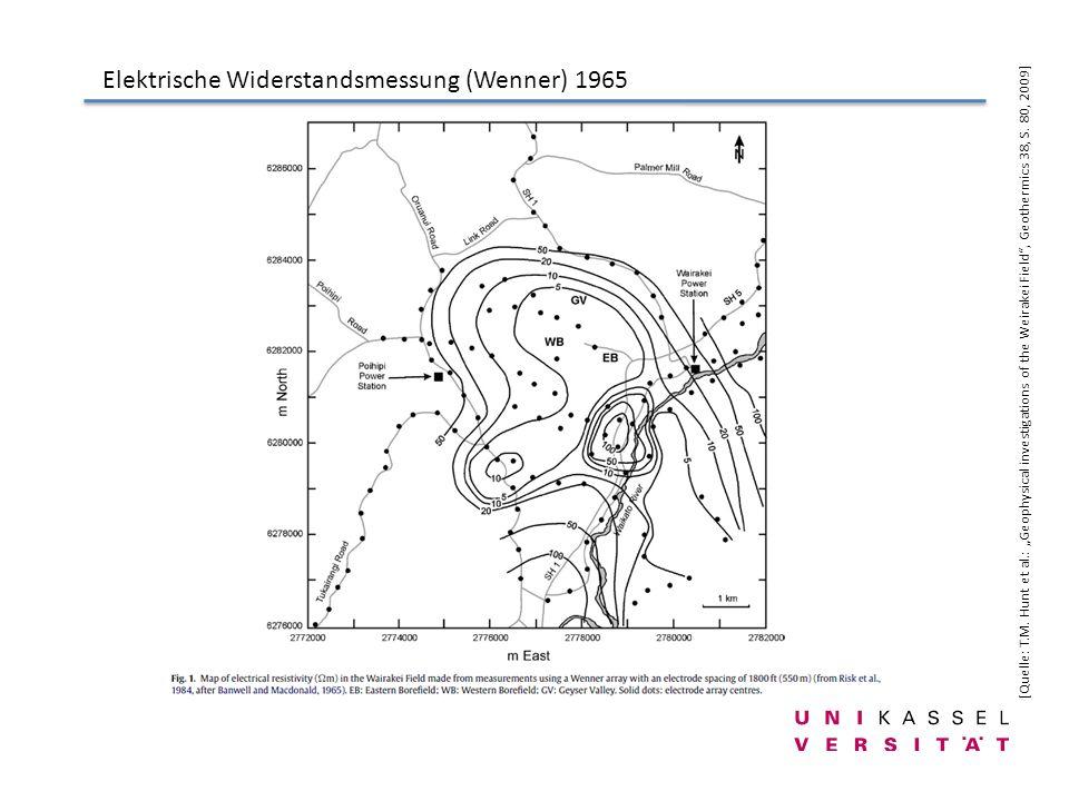 Elektrische Widerstandsmessung (Wenner) 1965 [Quelle: T.M. Hunt et al.: Geophysical investigations of the Weirakei Field, Geothermics 38, S. 80, 2009]