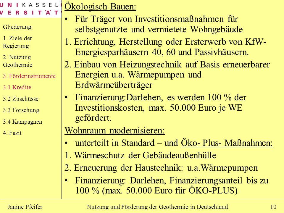 Nutzung und Förderung der Geothermie in DeutschlandJanine Pfeifer10 Ökologisch Bauen: Für Träger von Investitionsmaßnahmen für selbstgenutzte und verm