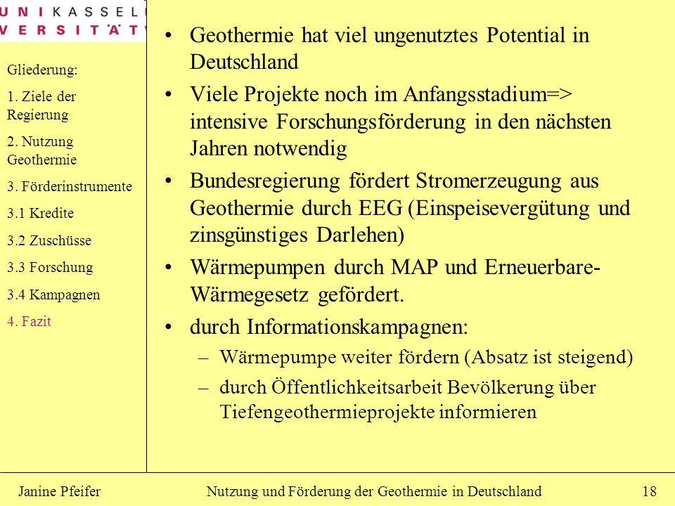 Nutzung und Förderung der Geothermie in DeutschlandJanine Pfeifer18 Geothermie hat viel ungenutztes Potential in Deutschland Viele Projekte noch im An