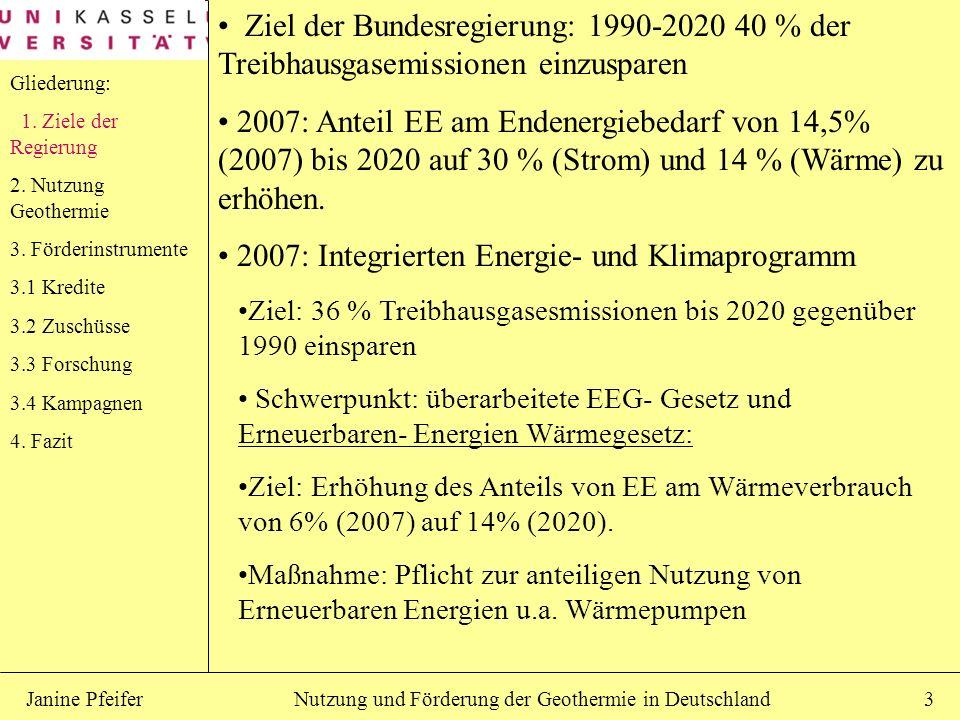 Nutzung und Förderung der Geothermie in DeutschlandJanine Pfeifer3 Ziel der Bundesregierung: 1990-2020 40 % der Treibhausgasemissionen einzusparen 200