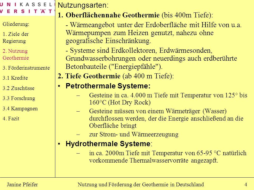 Nutzung und Förderung der Geothermie in DeutschlandJanine Pfeifer4 Nutzungsarten: 1.Oberflächennahe Geothermie (bis 400m Tiefe): - Wärmeangebot unter
