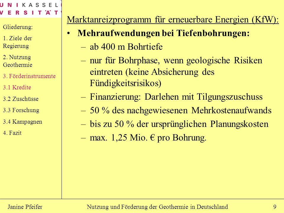 Nutzung und Förderung der Geothermie in DeutschlandJanine Pfeifer9 Marktanreizprogramm für erneuerbare Energien (KfW): Mehraufwendungen bei Tiefenbohr