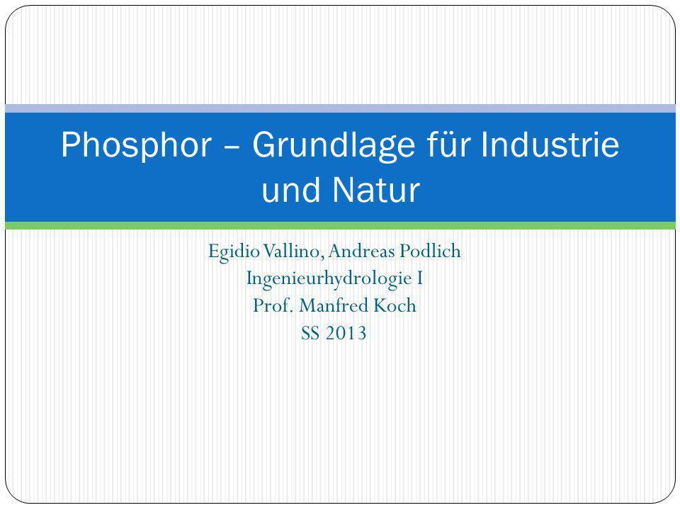 Egidio Vallino, Andreas Podlich Ingenieurhydrologie I Prof. Manfred Koch SS 2013 Phosphor – Grundlage für Industrie und Natur