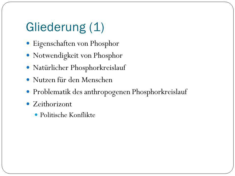 Gliederung (1) Eigenschaften von Phosphor Notwendigkeit von Phosphor Natürlicher Phosphorkreislauf Nutzen für den Menschen Problematik des anthropogen