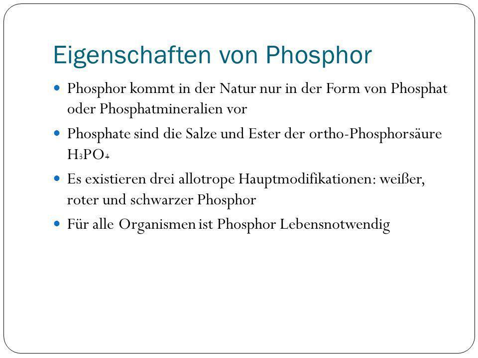 Eigenschaften von Phosphor Phosphor kommt in der Natur nur in der Form von Phosphat oder Phosphatmineralien vor Phosphate sind die Salze und Ester der