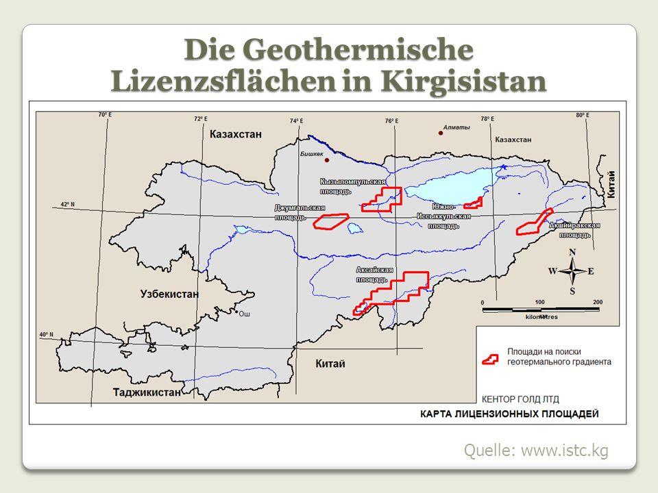 Die Geothermische Lizenzsflächen in Kirgisistan Quelle: www.istc.kg