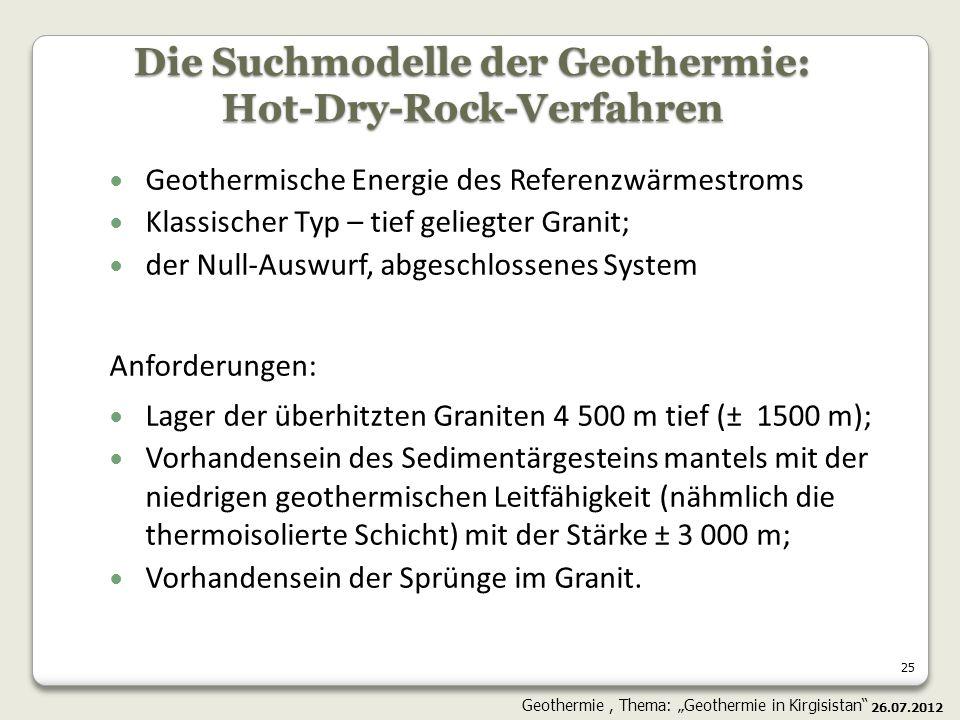25 Geothermische Energie des Referenzwärmestroms Klassischer Typ – tief geliegter Granit; der Null-Auswurf, abgeschlossenes System Anforderungen: Lage