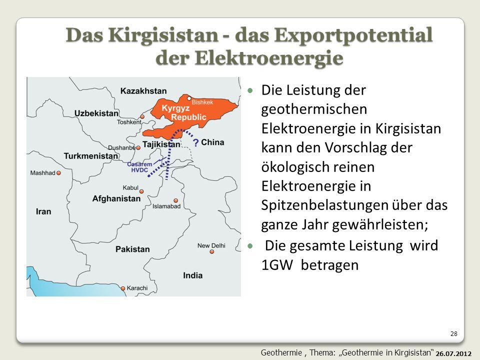 28 Die Leistung der geothermischen Elektroenergie in Kirgisistan kann den Vorschlag der ökologisch reinen Elektroenergie in Spitzenbelastungen über da