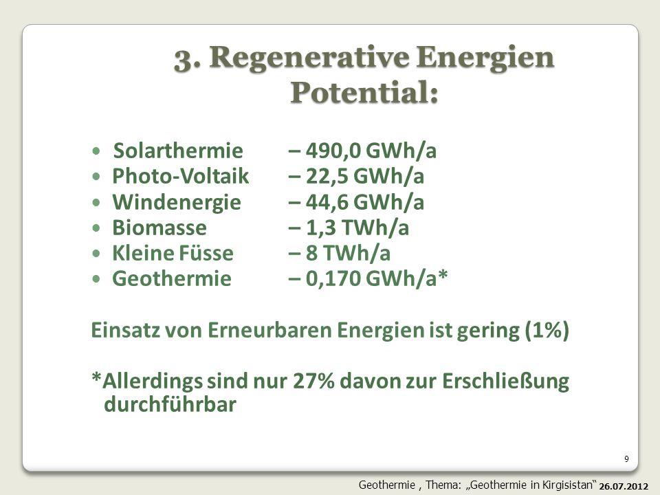 9 3. Regenerative Energien Potential: Solarthermie – 490,0 GWh/a Photo-Voltaik – 22,5 GWh/a Windenergie – 44,6 GWh/a Biomasse – 1,3 TWh/a Kleine Füsse