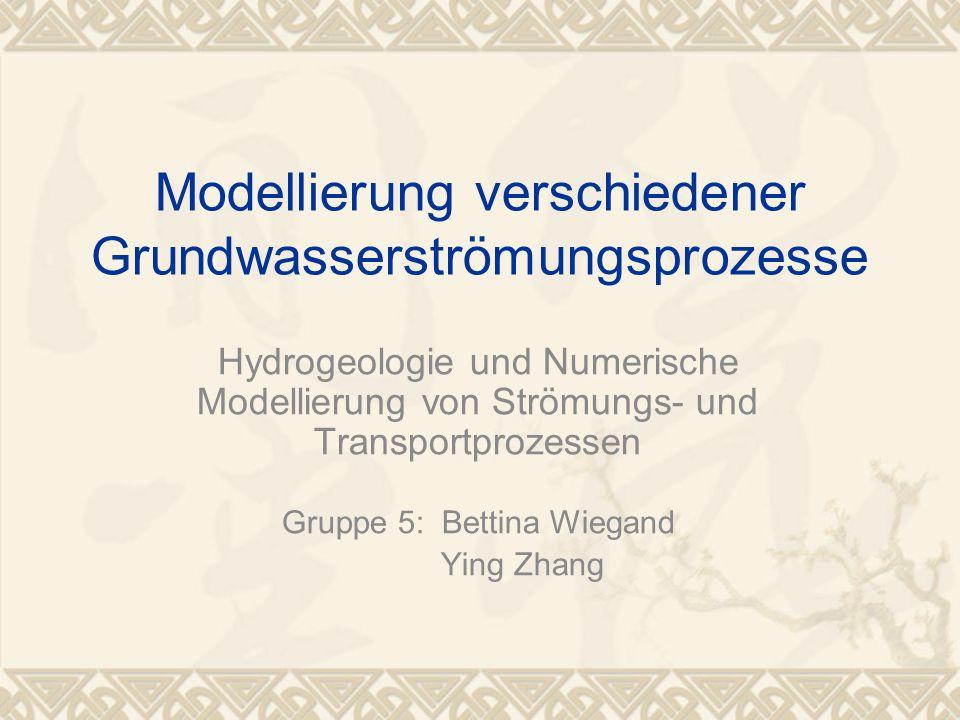 Modellierung verschiedener Grundwasserströmungsprozesse Hydrogeologie und Numerische Modellierung von Strömungs- und Transportprozessen Gruppe 5: Bett