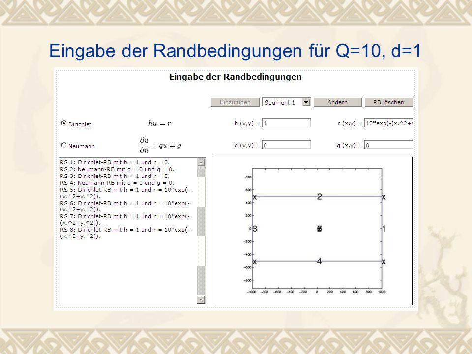 Eingabe der Randbedingungen für Q=10, d=1