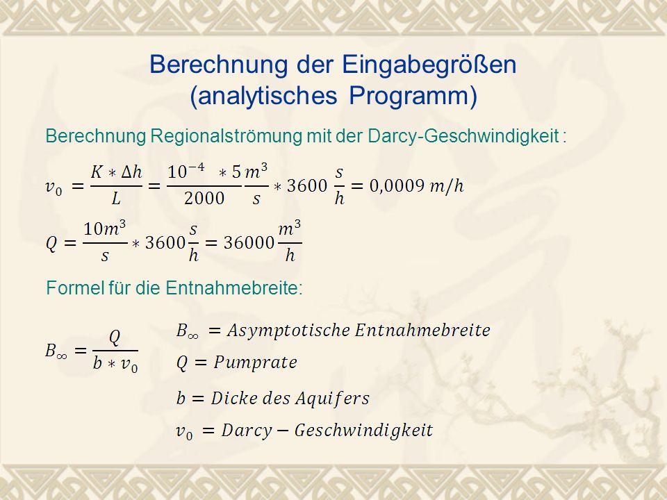 Berechnung Regionalströmung mit der Darcy-Geschwindigkeit : Formel für die Entnahmebreite: Berechnung der Eingabegrößen (analytisches Programm)