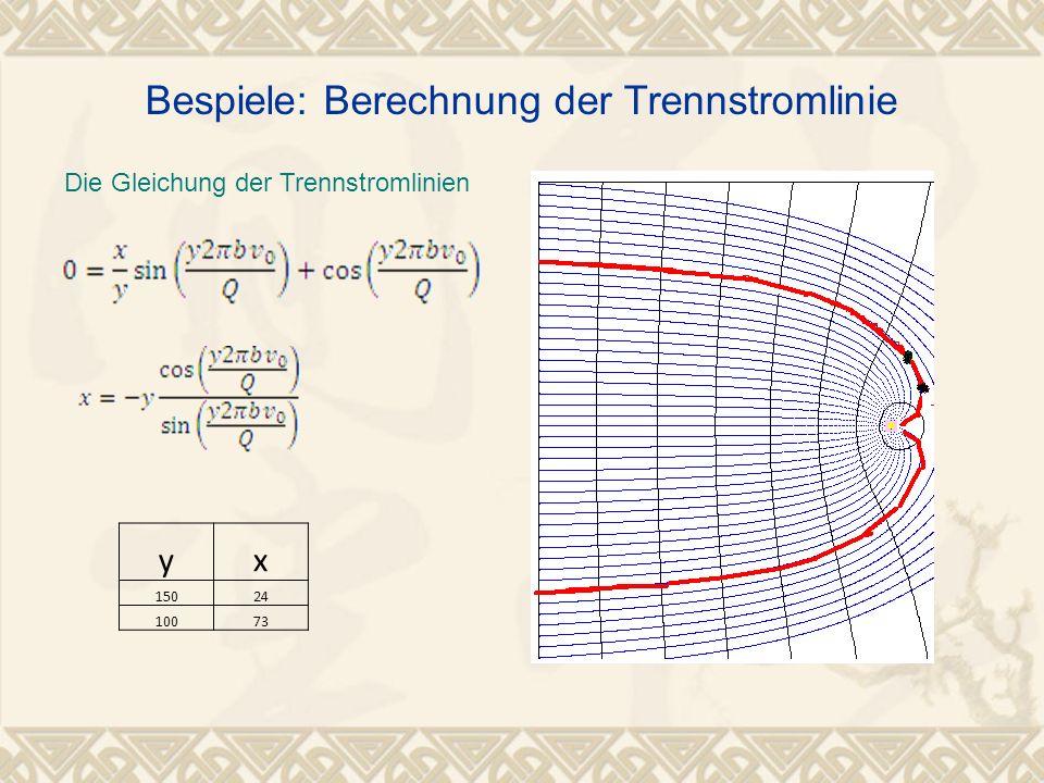 Die Gleichung der Trennstromlinien yx 15024 10073 Bespiele: Berechnung der Trennstromlinie