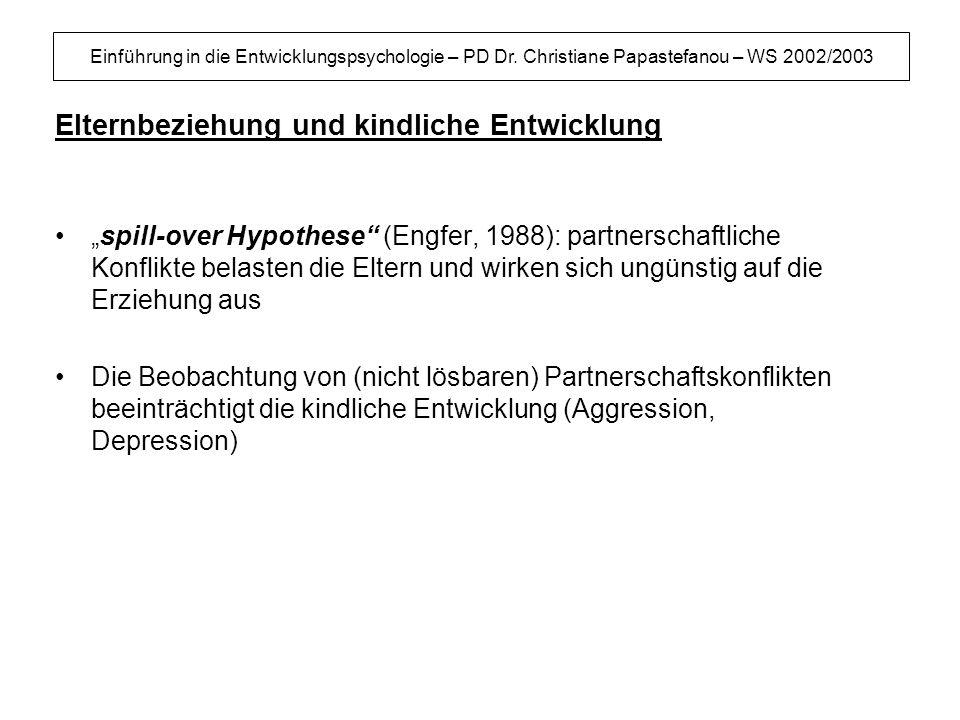 Einführung in die Entwicklungspsychologie – PD Dr. Christiane Papastefanou – WS 2002/2003 Elternbeziehung und kindliche Entwicklung spill-over Hypothe