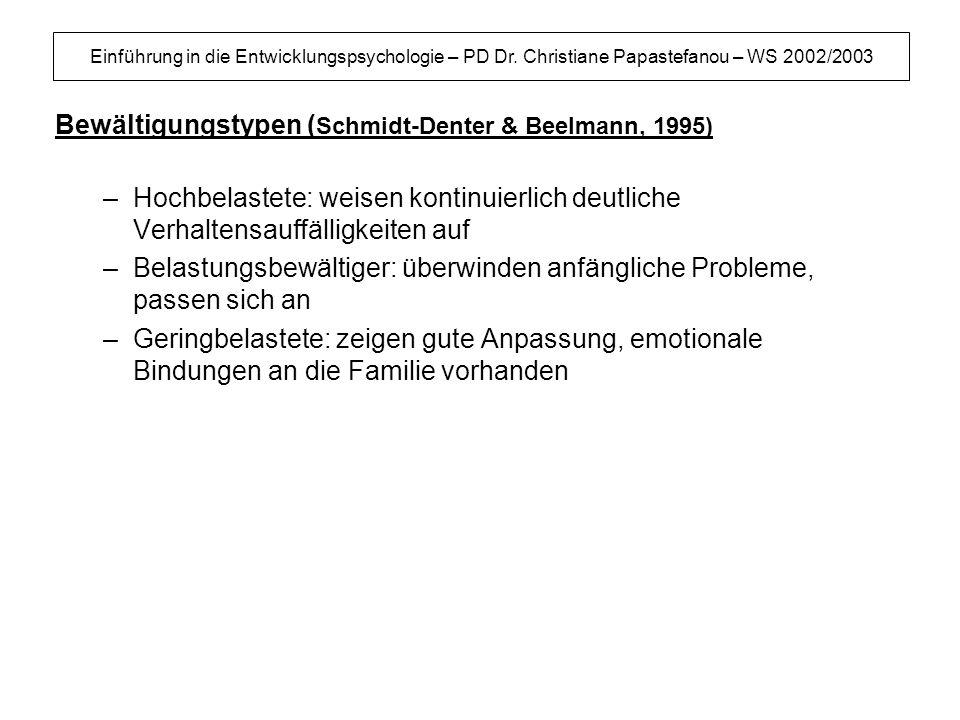 Einführung in die Entwicklungspsychologie – PD Dr. Christiane Papastefanou – WS 2002/2003 Bewältigungstypen ( Schmidt-Denter & Beelmann, 1995) –Hochbe