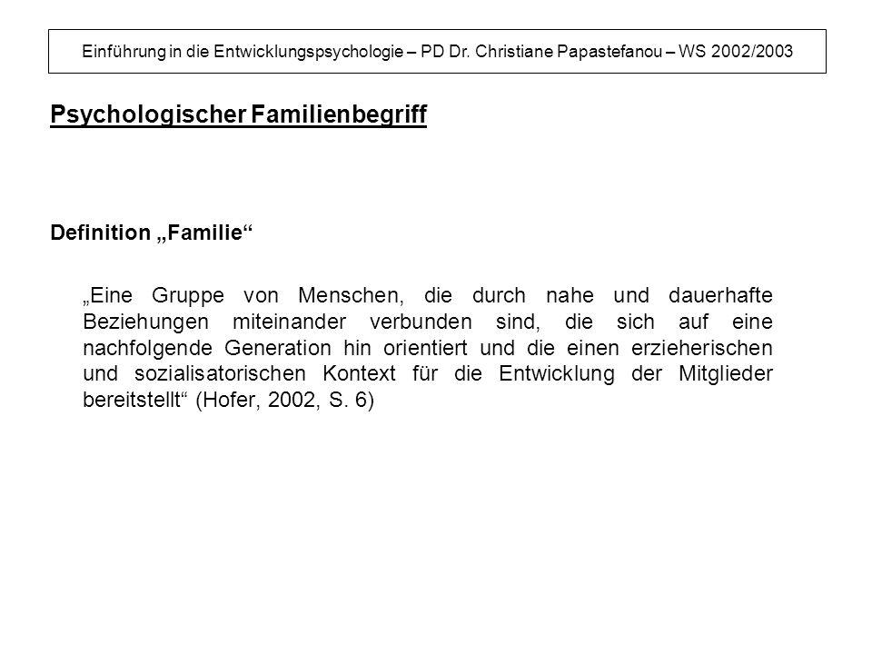 Einführung in die Entwicklungspsychologie – PD Dr. Christiane Papastefanou – WS 2002/2003 Psychologischer Familienbegriff Definition Familie Eine Grup