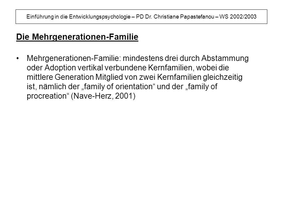 Einführung in die Entwicklungspsychologie – PD Dr. Christiane Papastefanou – WS 2002/2003 Die Mehrgenerationen-Familie Mehrgenerationen-Familie: minde