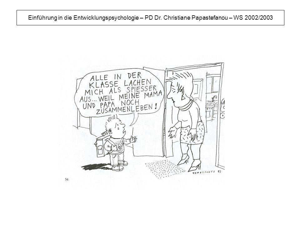 Einführung in die Entwicklungspsychologie – PD Dr. Christiane Papastefanou – WS 2002/2003
