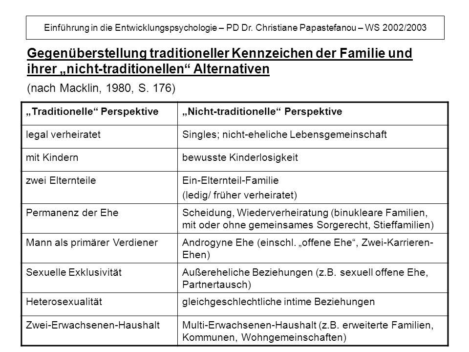 Einführung in die Entwicklungspsychologie – PD Dr. Christiane Papastefanou – WS 2002/2003 Gegenüberstellung traditioneller Kennzeichen der Familie und