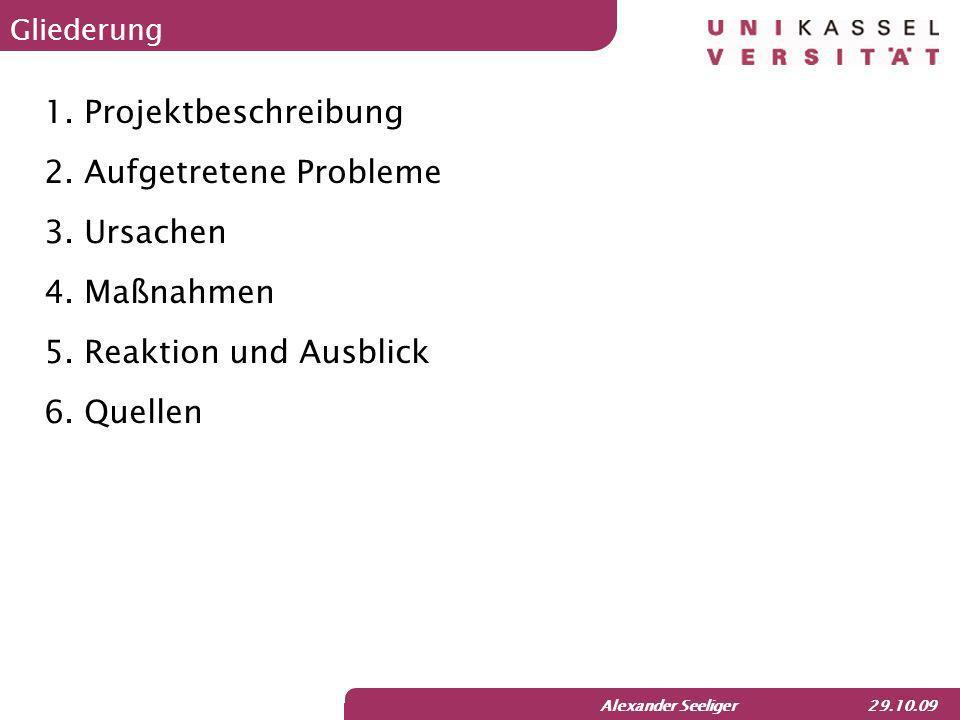 Alexander Seeliger 29.10.09 Gliederung 1.Projektbeschreibung 2.Aufgetretene Probleme 3.Ursachen 4.Maßnahmen 5.Reaktion und Ausblick 6.Quellen