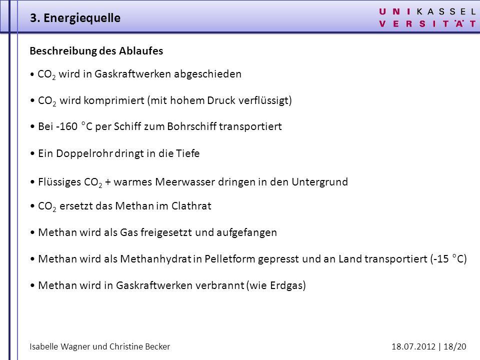 Isabelle Wagner und Christine Becker 18.07.2012 | 18/20 Beschreibung des Ablaufes Methan wird in Gaskraftwerken verbrannt (wie Erdgas) 3. Energiequell