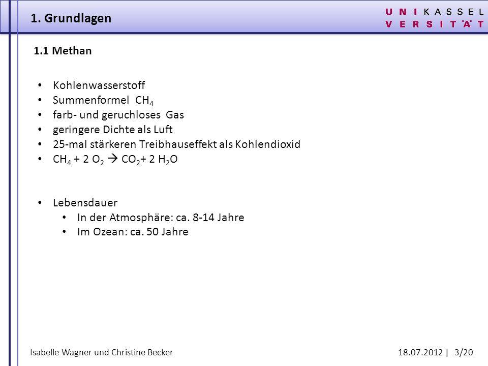 Isabelle Wagner und Christine Becker 18.07.2012 | 3/20 1. Grundlagen 1.1Methan Kohlenwasserstoff Summenformel CH 4 farb- und geruchloses Gas geringere