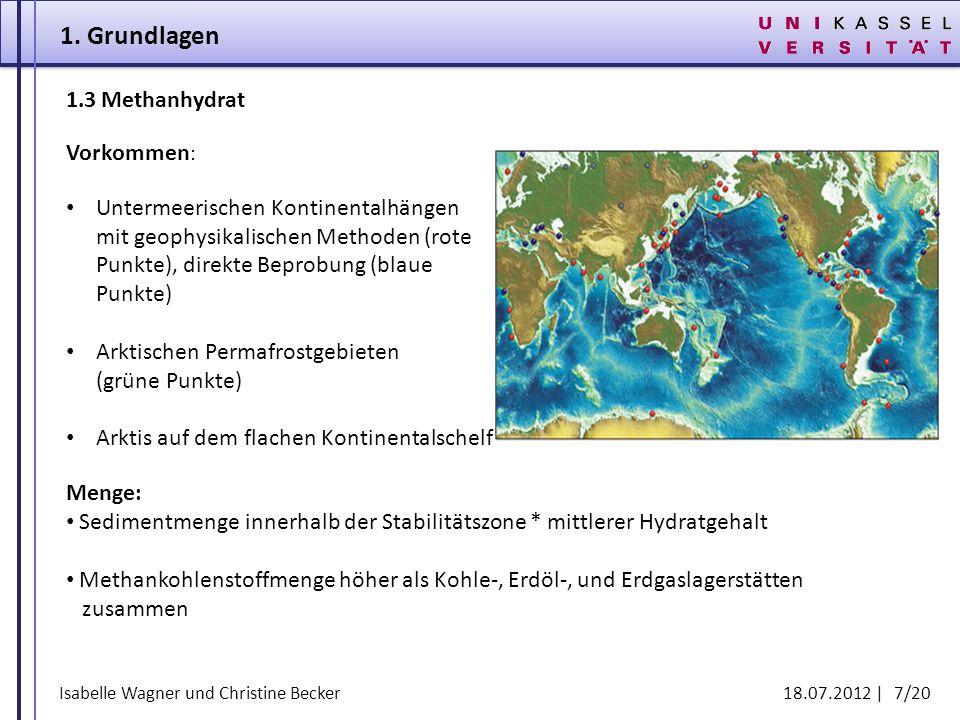Isabelle Wagner und Christine Becker 18.07.2012 | 7/20 1.3 Methanhydrat Vorkommen : Untermeerischen Kontinentalhängen mit geophysikalischen Methoden (
