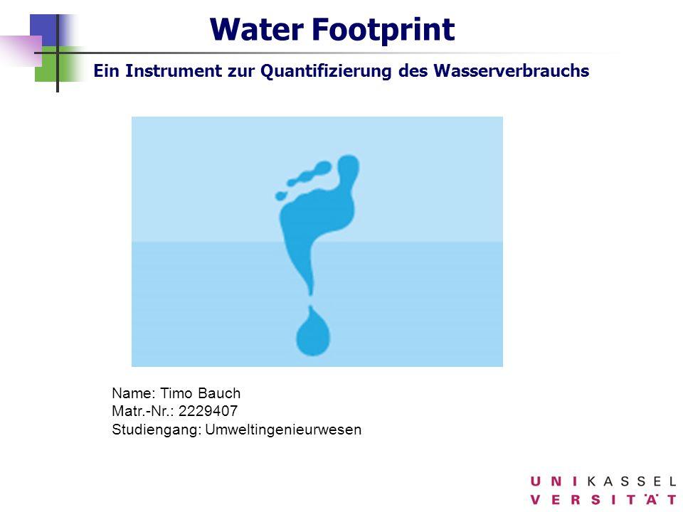 Water Footprint Ein Instrument zur Quantifizierung des Wasserverbrauchs Name: Timo Bauch Matr.-Nr.: 2229407 Studiengang: Umweltingenieurwesen
