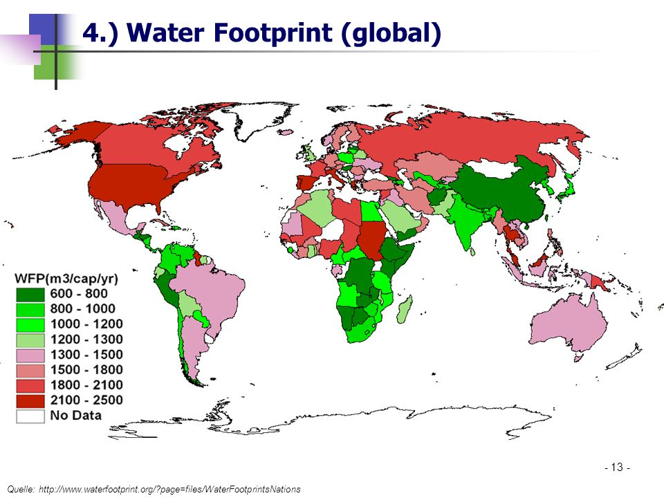 4.) Water Footprint (global) Quelle: http://www.waterfootprint.org/?page=files/WaterFootprintsNations - 13 -