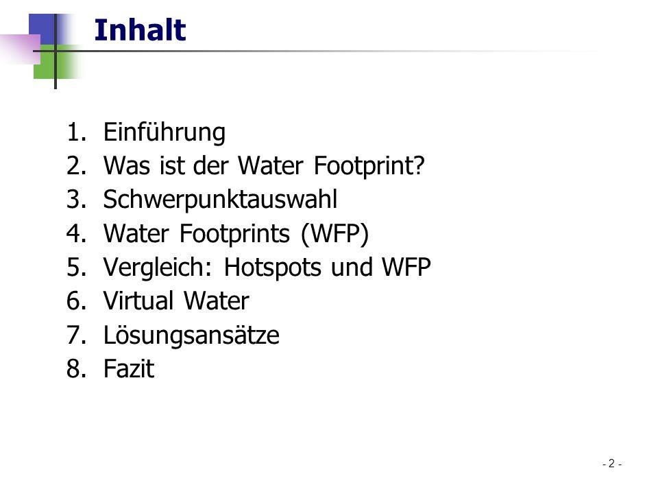Inhalt 1.Einführung 2.Was ist der Water Footprint? 3.Schwerpunktauswahl 4.Water Footprints (WFP) 5.Vergleich: Hotspots und WFP 6.Virtual Water 7.Lösun