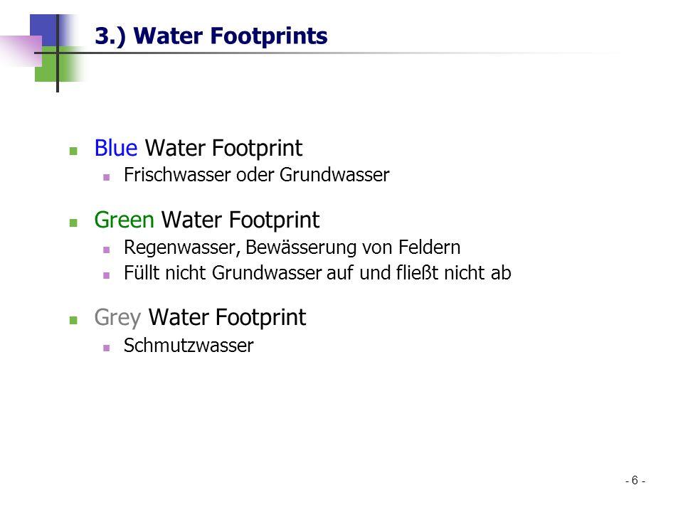 3.) Water Footprints Blue Water Footprint Frischwasser oder Grundwasser Green Water Footprint Regenwasser, Bewässerung von Feldern Füllt nicht Grundwa