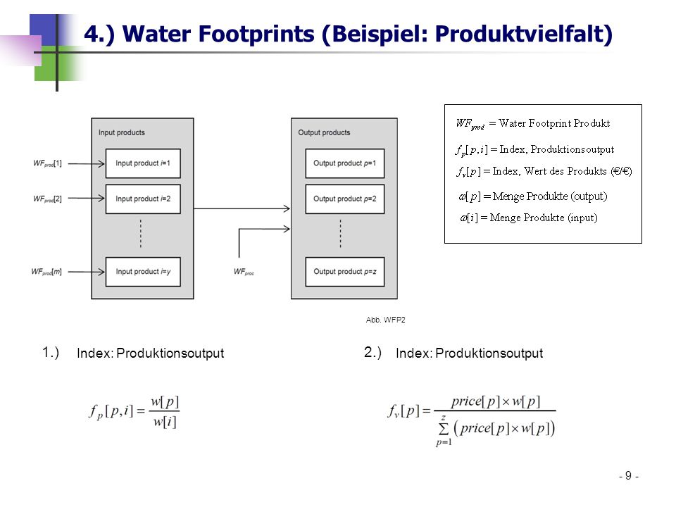 4.) Water Footprints (Beispiel: Produktvielfalt) 1.)2.) - 9 - Abb. WFP2 Index: Produktionsoutput
