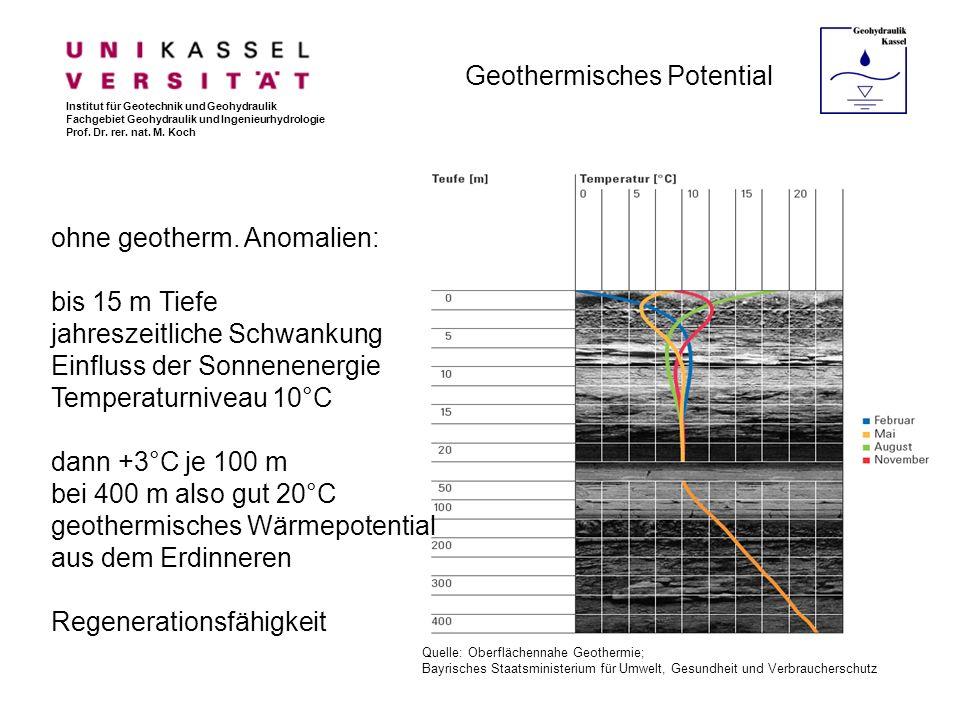 Geothermisches Potential Quelle: Oberflächennahe Geothermie; Bayrisches Staatsministerium für Umwelt, Gesundheit und Verbraucherschutz ohne geotherm.