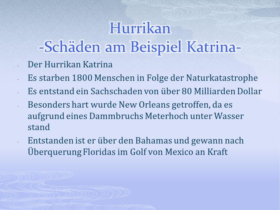 - Der Hurrikan Katrina - Es starben 1800 Menschen in Folge der Naturkatastrophe - Es entstand ein Sachschaden von über 80 Milliarden Dollar - Besonder