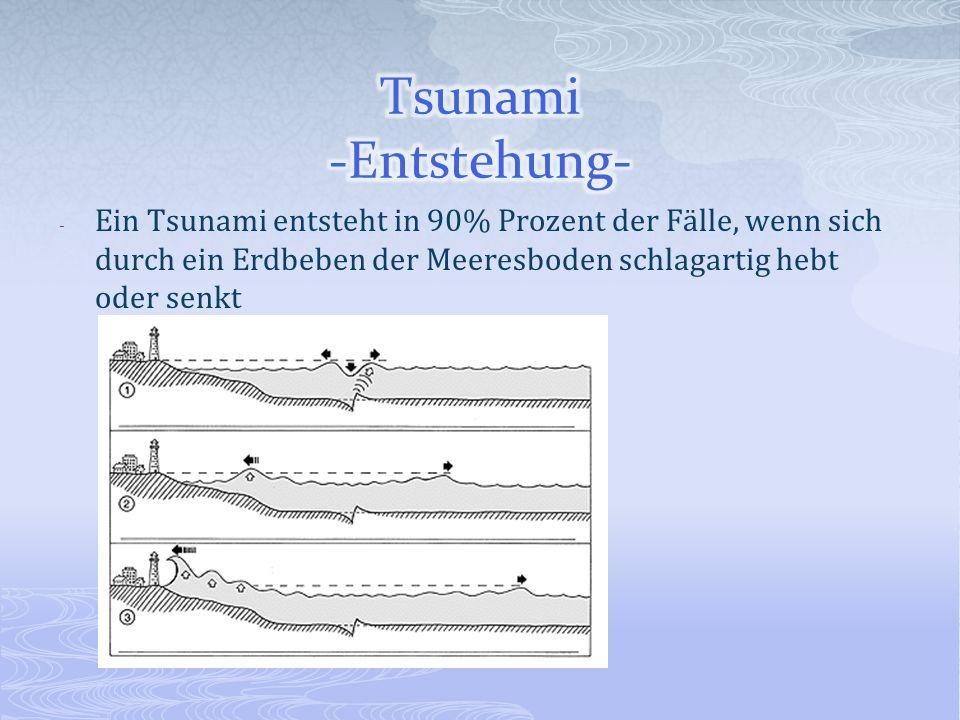 - Ein Tsunami entsteht in 90% Prozent der Fälle, wenn sich durch ein Erdbeben der Meeresboden schlagartig hebt oder senkt