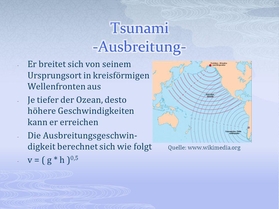 - Er breitet sich von seinem Ursprungsort in kreisförmigen Wellenfronten aus - Je tiefer der Ozean, desto höhere Geschwindigkeiten kann er erreichen -