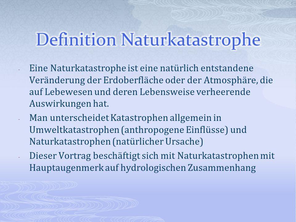 - Eine Naturkatastrophe ist eine natürlich entstandene Veränderung der Erdoberfläche oder der Atmosphäre, die auf Lebewesen und deren Lebensweise verh