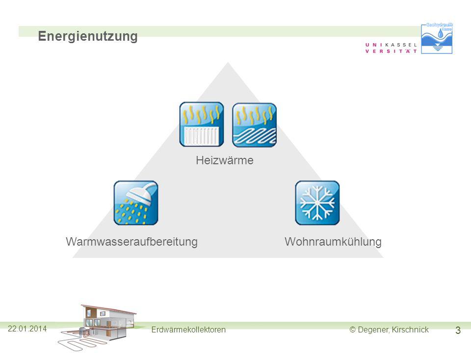 3 Erdwärmekollektoren© Degener, Kirschnick Energienutzung Heizwärme WarmwasseraufbereitungWohnraumkühlung 22.01.2014