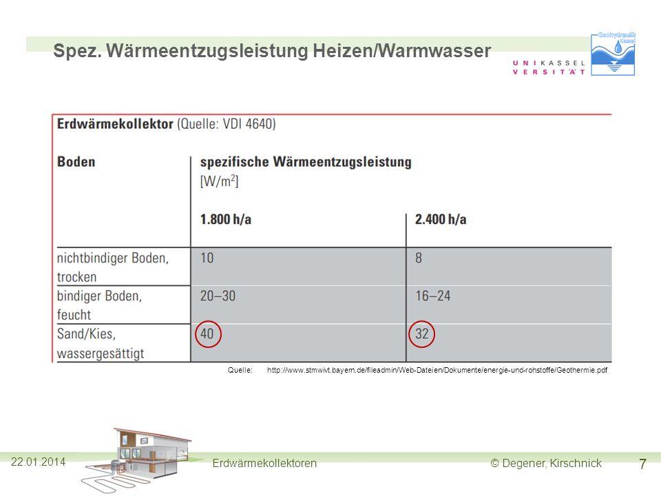 7 22.01.2014 Erdwärmekollektoren© Degener, Kirschnick Spez. Wärmeentzugsleistung Heizen/Warmwasser Quelle:http://www.stmwivt.bayern.de/fileadmin/Web-D