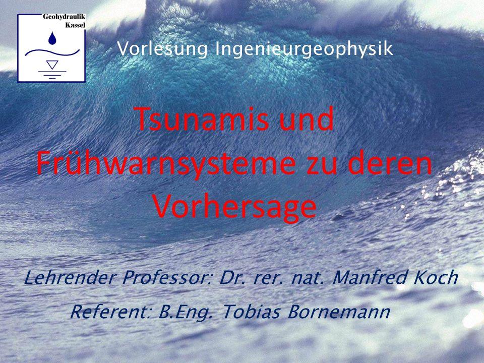 Gliederung Entstehung eines Tsunamis Entstehende Wellenformen Berechnungsmethoden von Tsunamis Beispielberechnung Tsunamifrühwarnsysteme –Vorstellung verschiedener Systeme –Komponenten und deren Funktionsweise zur Vorhersage Fazit 2 Tsunamis und Frühwarnsysteme zu deren Vorhersage