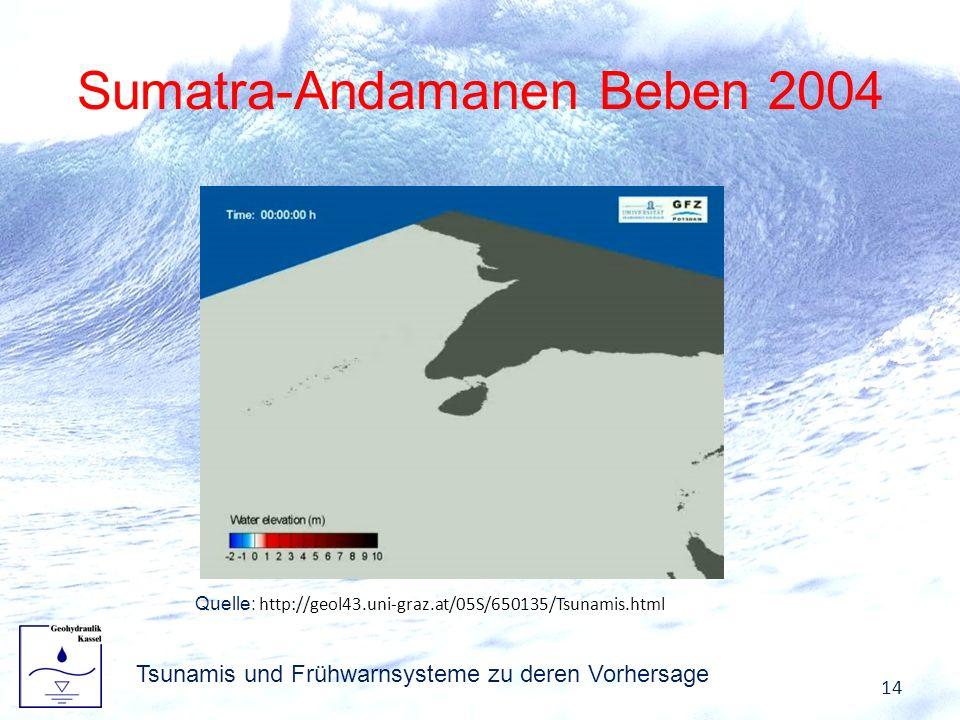 Sumatra-Andamanen Beben 2004 Tsunamis und Frühwarnsysteme zu deren Vorhersage 14 Quelle: http://geol43.uni-graz.at/05S/650135/Tsunamis.html