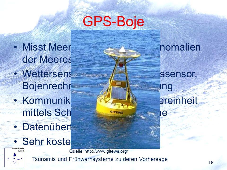 GPS-Boje Misst Meersspiegelhöhe und Anomalien der Meeresoberfläche Wettersensor, Bojenbewegungssensor, Bojenrechner, Energieversorgung Kommunikation m