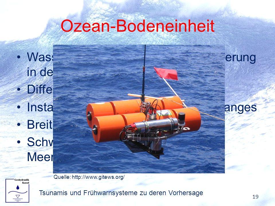 Ozean-Bodeneinheit Wasserhöhenänderung Druckänderung in der Wassersäule Differenzdrucksensor Installation entlang des Kontinentalhanges Breitband-Seis